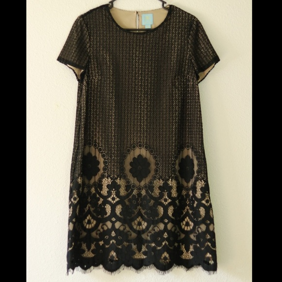 CeCe Dresses & Skirts - CeCe Black Lace Nude Dress Size 6